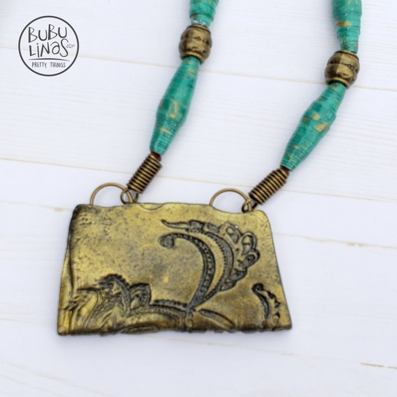 Bronze Polymer Clay Square Necklace