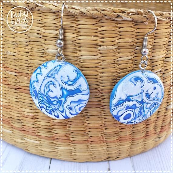 Blue earrings polymer clay earrings dangle and drop earrings