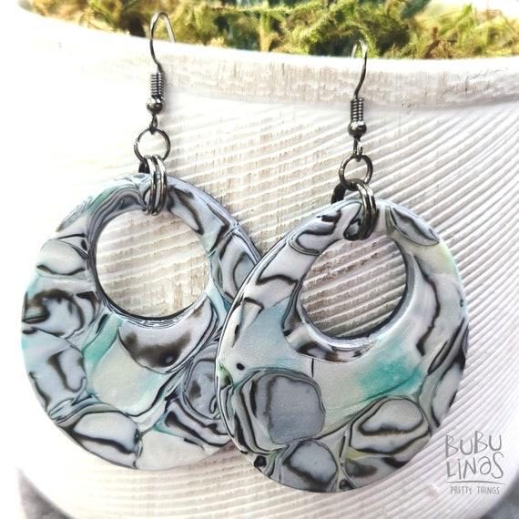 Polymer Clay Earrings   Donut hoops dangle earrings   60's earrings dangle   Pop Vintage earrings   90's earrings