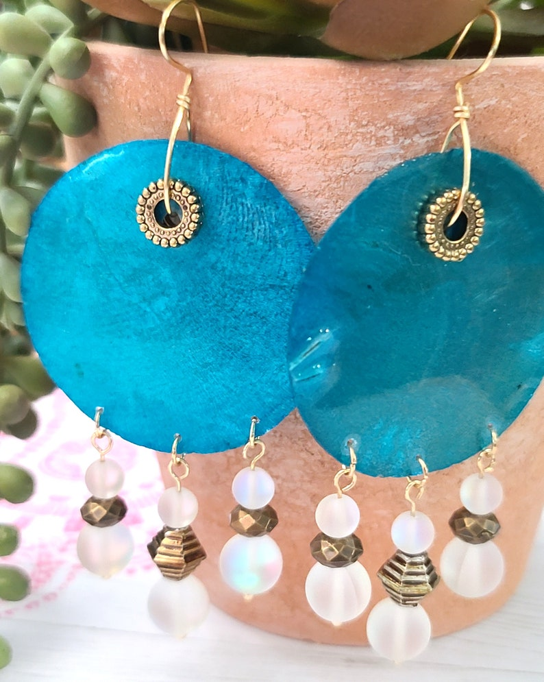 Boho Hippie Earrings Ethnic Earrings Capiz shell earrings Beaded Earrings sea shell earrings Statement earrings Round earrings