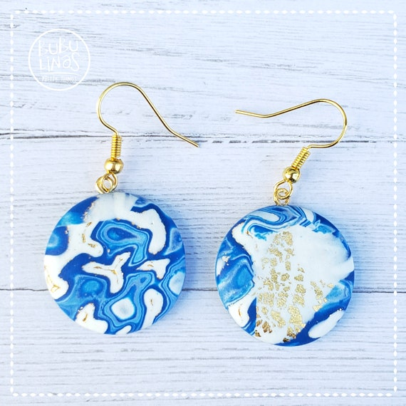 Blue and gold earrings polymer clay earrings dangle and drop earrings
