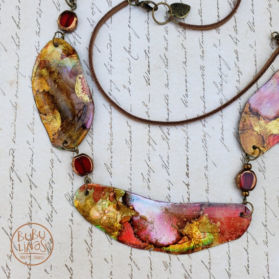 Alcohol ink jewelry. Statement necklace. Boho jewelry.  Christmas gift. Bib necklace.
