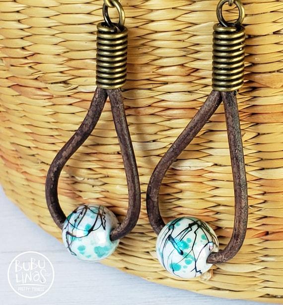 Boho Earrings leather earrings bohemian jewelry