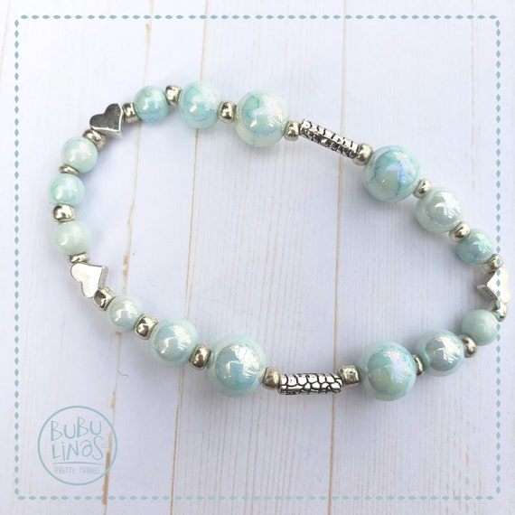 Bohemian beaded bracelet aqua and silver bracelet