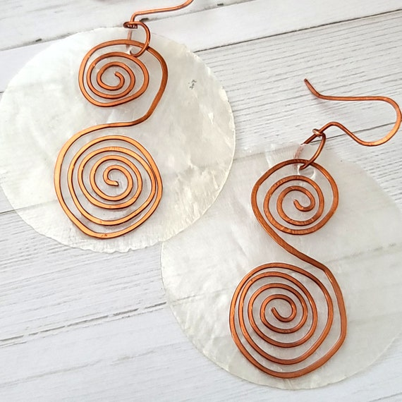 Capiz shell earrings | sea shell earrings | resin Earrings | Boho Hippie Earrings | Big round earrings | Ethnic earrings