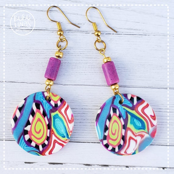 Colorful Jewelry earrings polymer clay earrings dangle and drop earrings