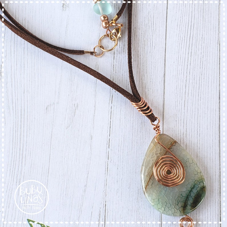 Agate necklace Semi precious stone necklace. Agate Wire Wrapped Pendant gift for women