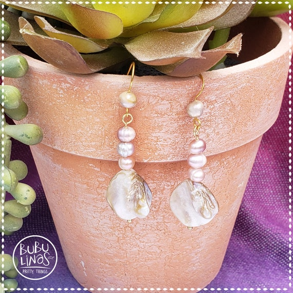 Freshwater pearl earrings | Pearl dangle drop earrings | Pink and gray pearl earrings | Boho earrings | Cool earrings