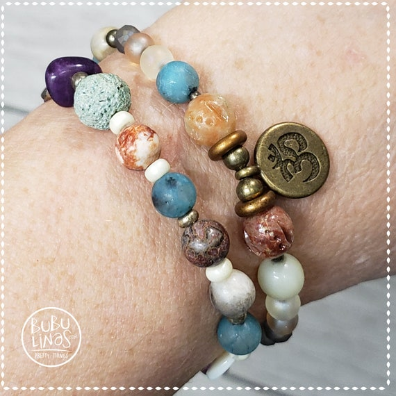 Bracelet Bohemian beaded gemstones Om Charm hippie charm bracelet