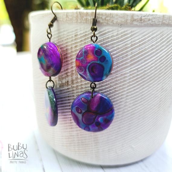 Colorful clay earrings | Dangle drop earrings | Polymer clay dangle | Cool earrings | Dangly earrings | statement earrings |  Gift for Her.