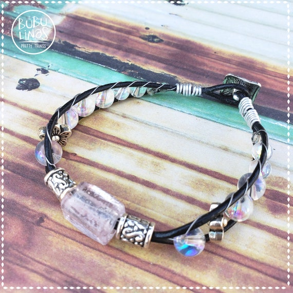 Leather beaded Boho bracelet hippie jewelry crystal beads