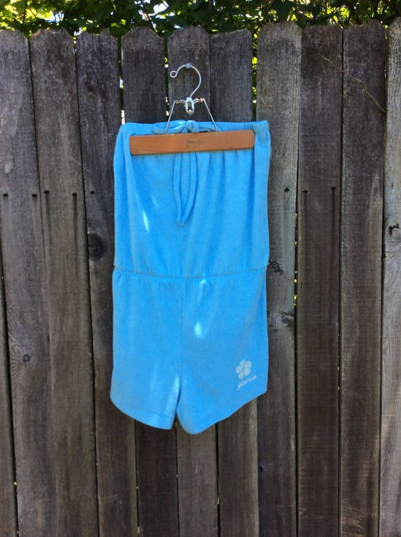 Vintage 80's baby blue terry cloth shorts romper s