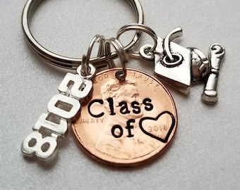 Custom Class of 2018 Lucky Penny Graduation Keychain, for Her, for Him, Affordable,  Personalized Gift, Class of 2018, Grad, High School