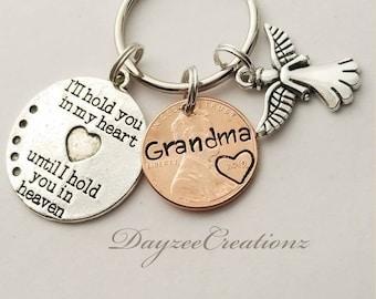 Dad Custom Penny From Heaven Memorial Keychain Rememberance Memorial Gift Sister Black Friday Cyber Monday Grandma Christmas Mom