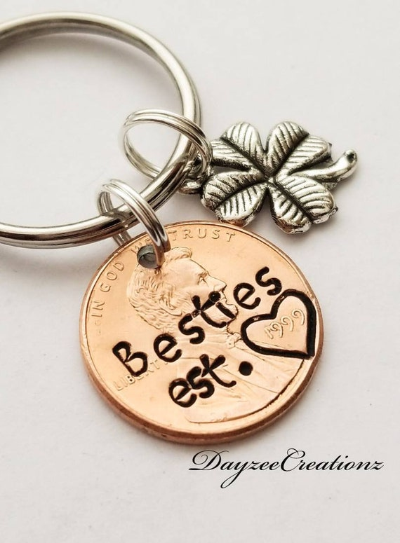 personalized penny Personalized Custom Keychain Best Friends Penny Keychain Set gun Couples Keychain Set of 2 Partners in crime