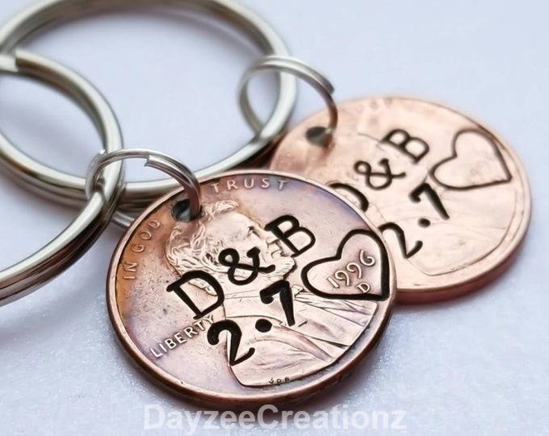 Valentine's Day Gift for Him Personalized Penny Keychain PAIR OF 2/WITH HEART