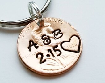 Personalized Lucky Penny Keychain, Anniversary Gift, Girlfriend, Boyfriend, Husband, Wife, Her, For Him, Couples,Parents, Valentine's Day