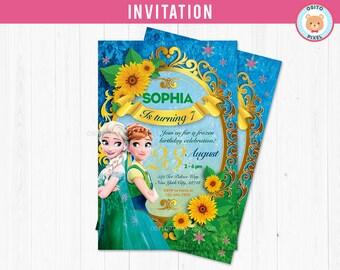 Frozen Fever Invitation Birthday Party Frozen Birthday Party Etsy