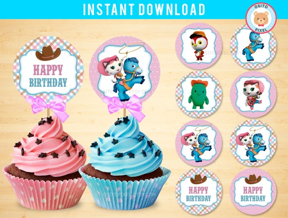 Cupcake Toppers Sheriff Callie Instant Download Sheriff Callie Birthday Sheriff Decorations Callie Party Favor Printable Ositopixel