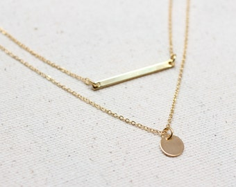 Dainty Necklace Set / Gold Bar Necklace / Silver Coin Necklace / Gold Coin Necklace / Minimalist Necklace / Bridesmaid Necklace Set