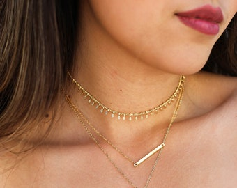 Dainty Gold Choker Necklace / Gold Fringe Choker / Gold Bohemian Choker / Gold Fringe Necklace / Gold Statement Choker / Everyday Choker