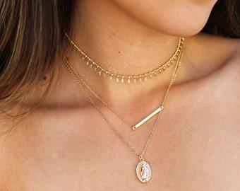 Gold Bar Necklace / Thin Gold Layering Bar Necklace / Delicate Everyday Bar Necklace / Gold Layering Necklace / Bridesmaid Gift