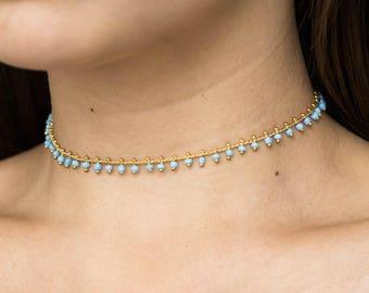 Sky Blue Beaded Choker Necklace / Boho Choker / Delicate Choker / Beaded Necklace / Bead Choker Necklace