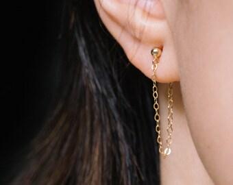 Gold Chain Stud Earrings / Gold Threader Earrings / 14k Gold Fill Earrings / Chain Loop Studs,Dainty Dangle Earrings,Simple Minimal Earrings