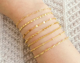 Thin Gold Bracelet / Dainty Gold Chain Bracelet / Delicate Gold Layering Bracelet / Stacking Bracelet / Bridesmaid Bracelet / Gift for Her
