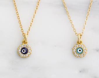 Tiny Evil Eye Necklace / Protection Necklace / CZ Pave Evil Eye Necklace / Gold Layering Necklace