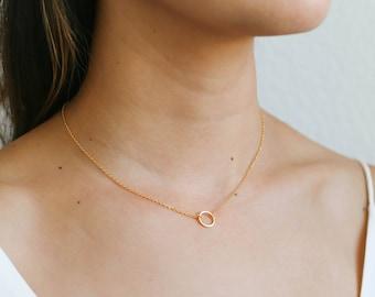 Dainty Circle Necklace / Simple Gold Circle Necklace / Gold Karma Necklace / Gold Open Circle Necklace / Bridesmaid Necklace