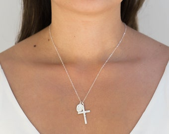 Sterling Silver Religious Necklace / Dainty Virgin Mary Necklace / Silver Crucifix Necklace / Delicate Cross Necklace / Religious Jewelry