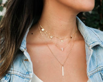 Gold Bar Necklace / Gold Hanging Bar Necklace / Gold Layering Necklace / Dainty Bar Necklace / Thin Bar Necklace / Filled or Plated
