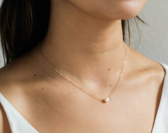 14k Gold Filled Freshwater Pearl Necklace / 14k Gold Filled Pearl Necklace / Pearl Necklace Gold Filled / Bridesmaid Necklace