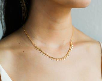 Gold Fringe Necklace / Gold Fringe Choker / Boho Necklace / Gypsy Necklace / Statement Layering Necklace