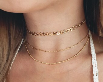 Delicate Gold Choker Necklace / Gold Choker Set / Dainty Gold Choker Necklace