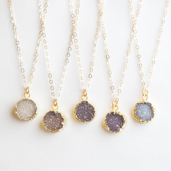 Gift for woman Cute Little Druzy with Amethyst pendant Gemstone pendant