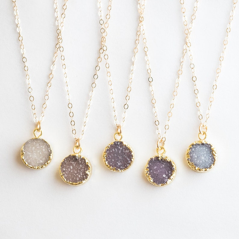 Tiny Druzy Necklace / Natural Druzy Pendant Necklace / Druzy image 0