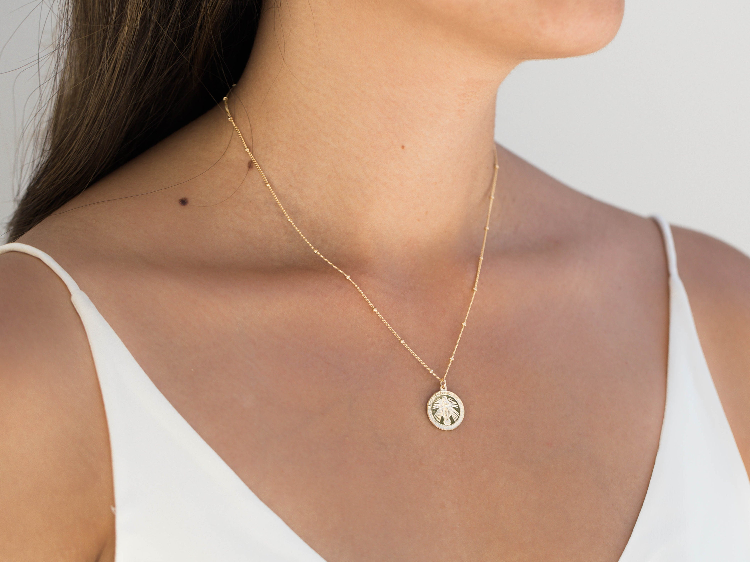 Virgin Mary Necklace religious  jewelry Miraculous Mary|-on a gold filled beaded 16\u201d chain or a black leather cord Mother Mary Necklace