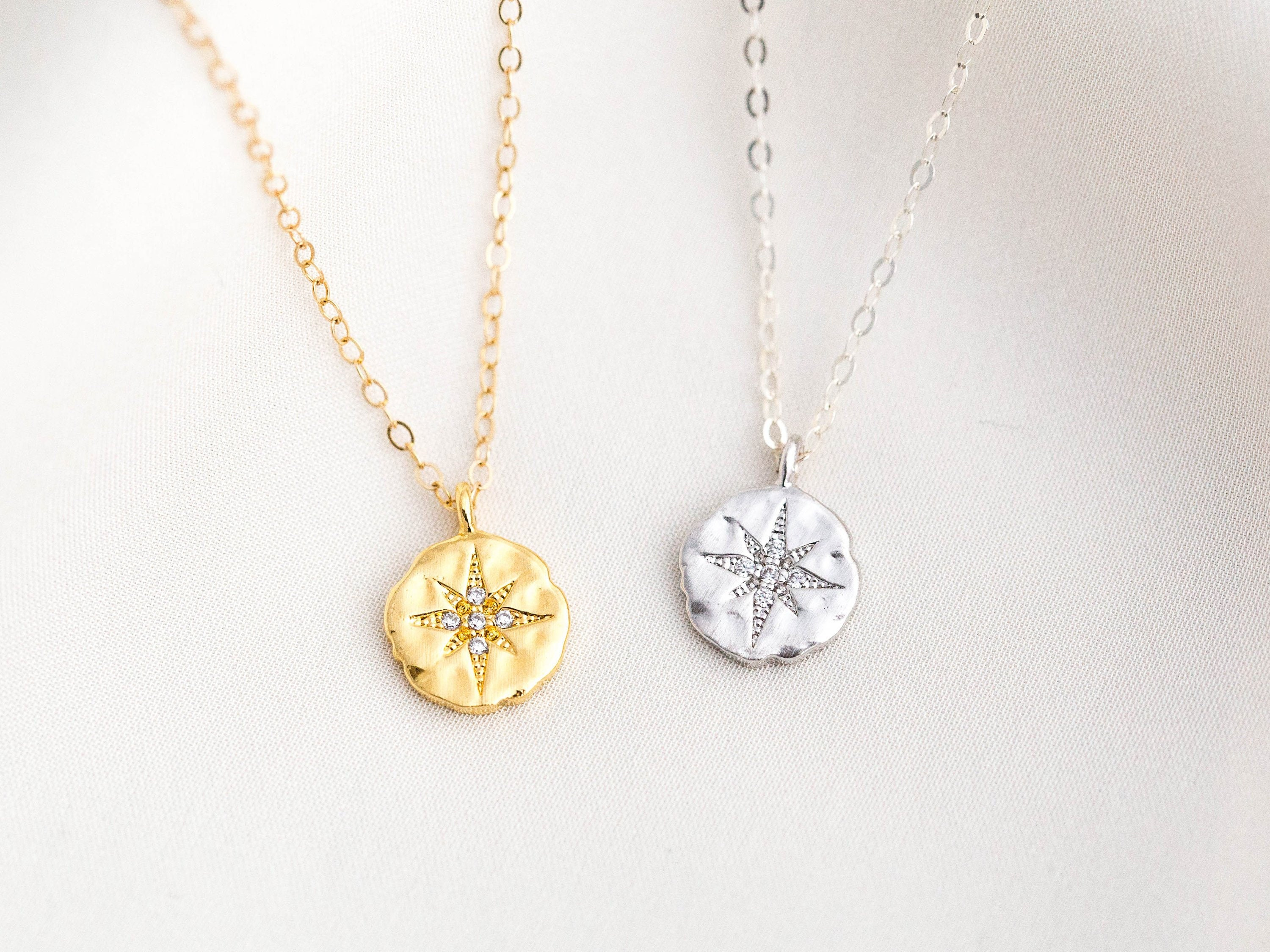 dc816733a0c4c CZ North Star Necklace / Gold Filled Polaris Necklace / Dainty Gold Coin  Necklace / Constellation Necklace / Graduation Gift / Gift for Her