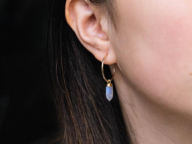 Dainty Rainbow Moonstone Hoop Earrings / 14k Gold Filled image 0