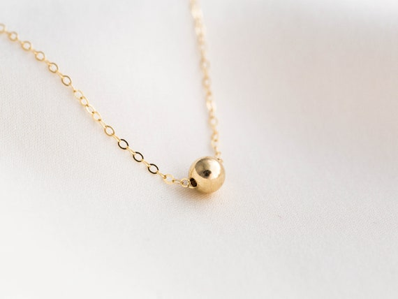 SALE Ball necklace Gold small Bead necklace Chic Everyday jewelry Dainty