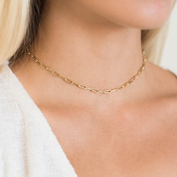 Gold Paperclip Chain Necklace Dainty Rectangle Link Paperclip Chain Necklace 16-inch No Tarnish