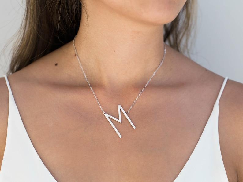 082374590f4f Large Letter Necklace   Big Initial Necklace   Monogram
