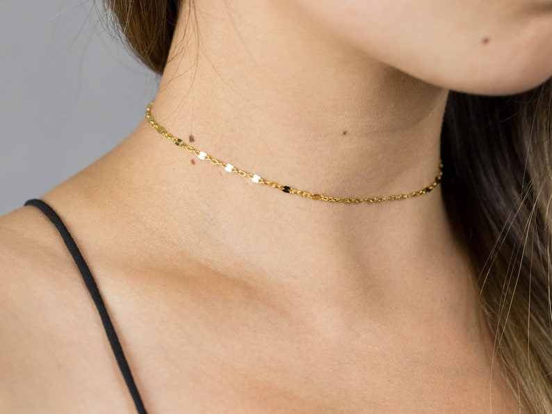 Gold LACE Choker Necklace also in Silver