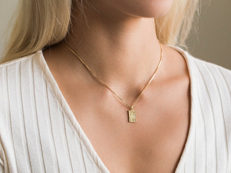 d654328bca0 Dainty Saint Christopher Necklace / Gold Rectangle Coin   Etsy