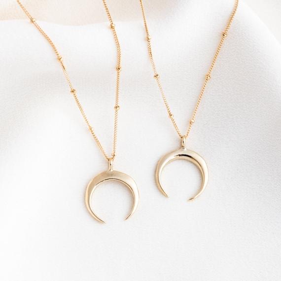 Neu Horn Halskette Crescent Moon Anhänger Goldkette Perle Choker Charm Schmuck