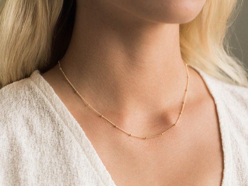 4ca7b8a89fb42 Gold Satellite Chain Necklace / Gold Satellite Necklace / Dainty Beaded  Necklace / Bridesmaid Necklace