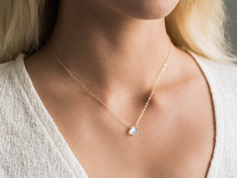 delicate everyday jewelry  bridal necklace small rainbow moonstone trio drop necklace   june birthstone
