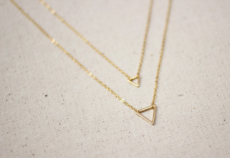 1d82288b9 Gold Triangle Necklace / Double Triangle Geometric Necklace / | Etsy